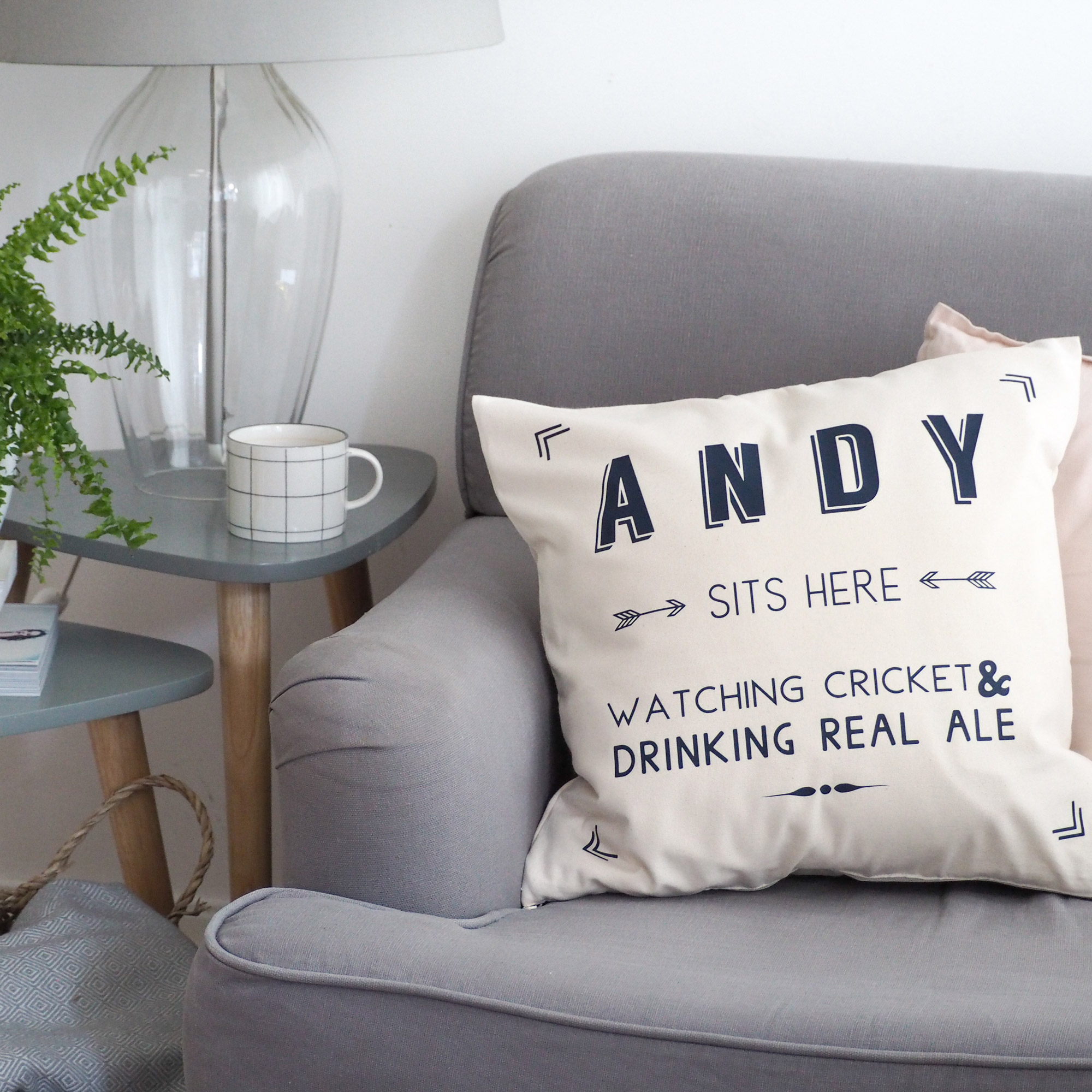 sits here personalised cushion cover