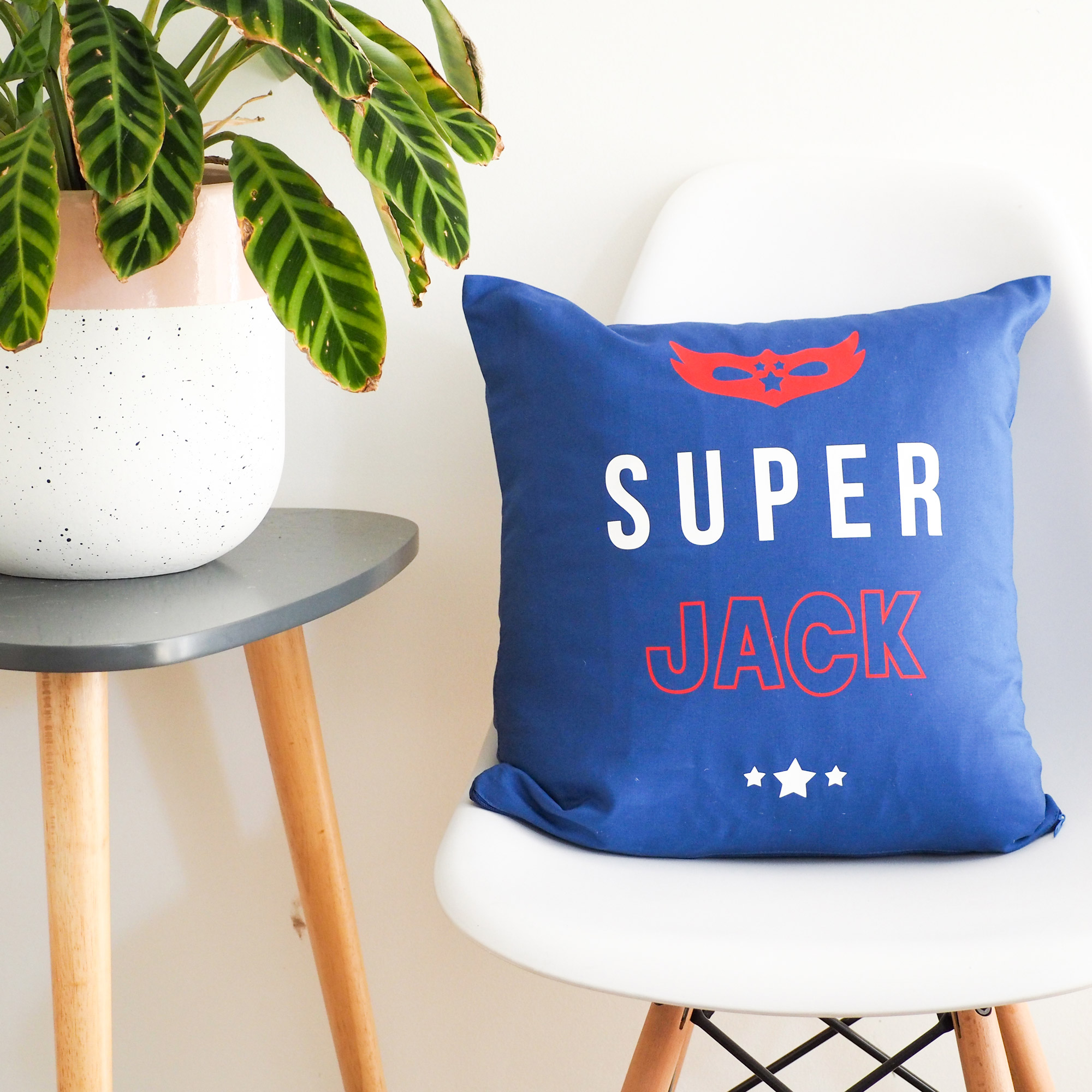 personalised super hero cushion cover blue