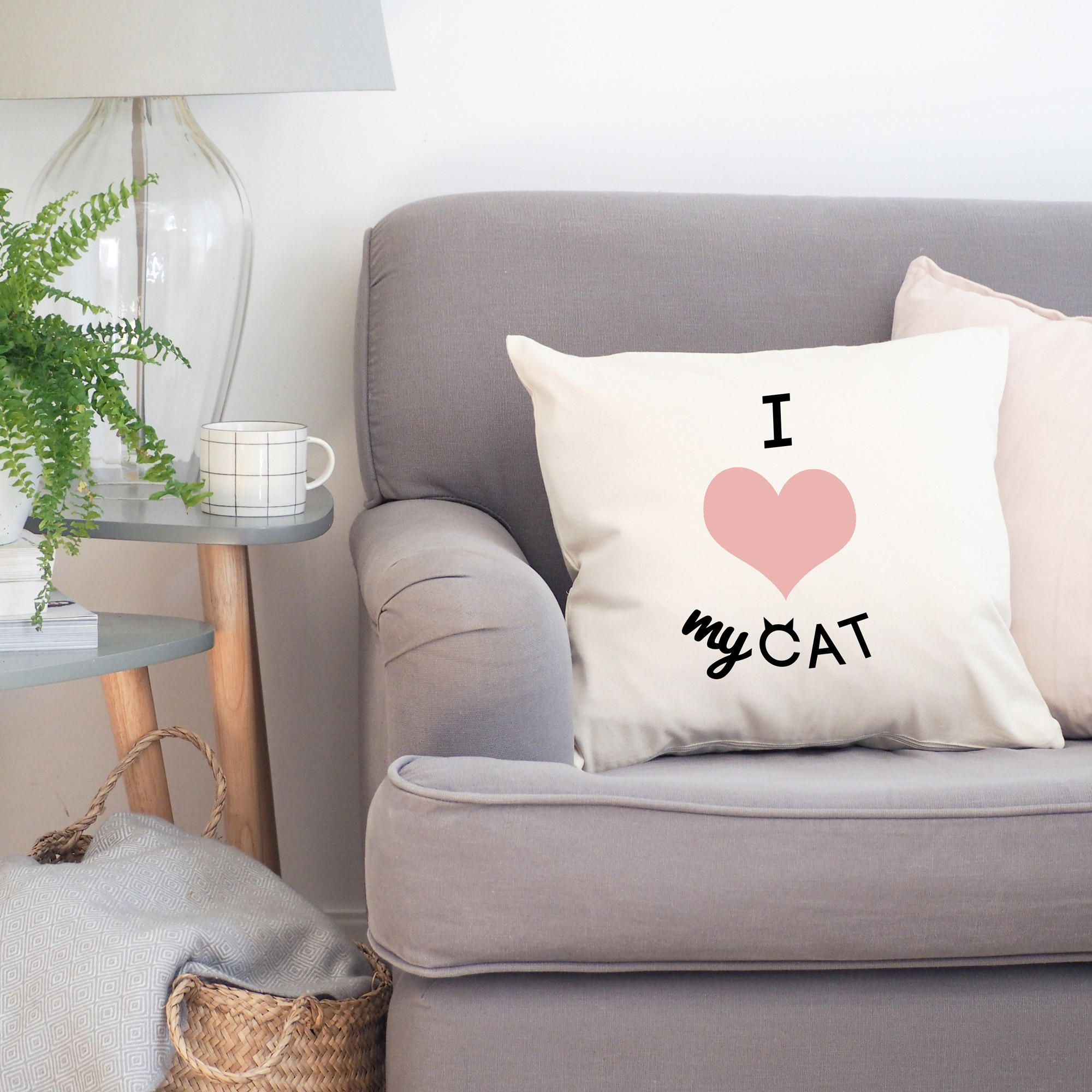 i heart my cat cushion cover